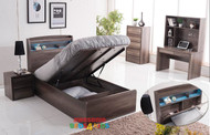 2. Padstow End Lift Bed Frame with Storage Bedhead + USB Charger & LED Lights - Single or King Single