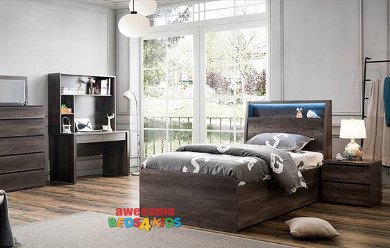 Hamilton End Lift Bed Frame with Storage Bedhead + USB Charger & LED Lights!