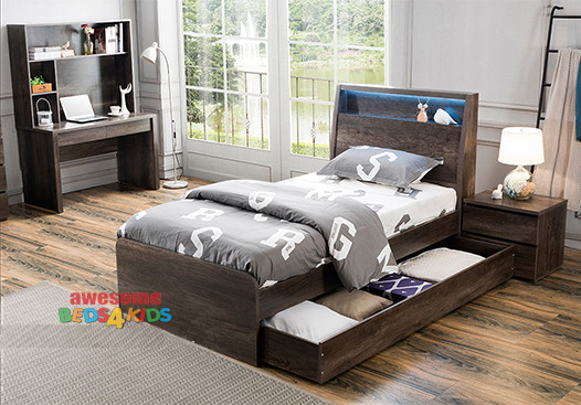 The Hamilton 5 Piece Package Includes Bed + Trundle Bed + Bedside Table + Tallboy + Desk & Hutch.