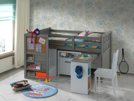 The Byron Midi Sleeper is a great space saver solution for all kids bedrooms. The bed features modern grey colour, stair case walk up with storage, bookcase/cabinet, pullout desk on castors with two shelf's for books, games etc.