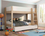 Newport Bunk Bed with Trundle Single is an great modern bunk bed for kids. A great feature is the lower bunk comes with a guard rail around end and back of bunk.