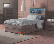 The Benowa Bed Frame is the perfect addition to any kids bedroom. The modern elegant design boasting a bookcase headboard with LED light and three drawers - including one large end drawer and one smaller drawer either side of the bed.