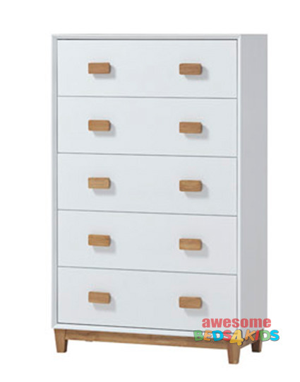 "Illuka Five Drawer Chest. The slick white finish and natural ""hardwood"" rubber wood timber handle and base on this bedside table means it can be matched with any of our white bed frames and furniture."