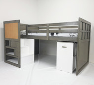The bed features modern grey colour, stair case walk up with storage, pullout desk on castors with two shelf's for books, games etc.