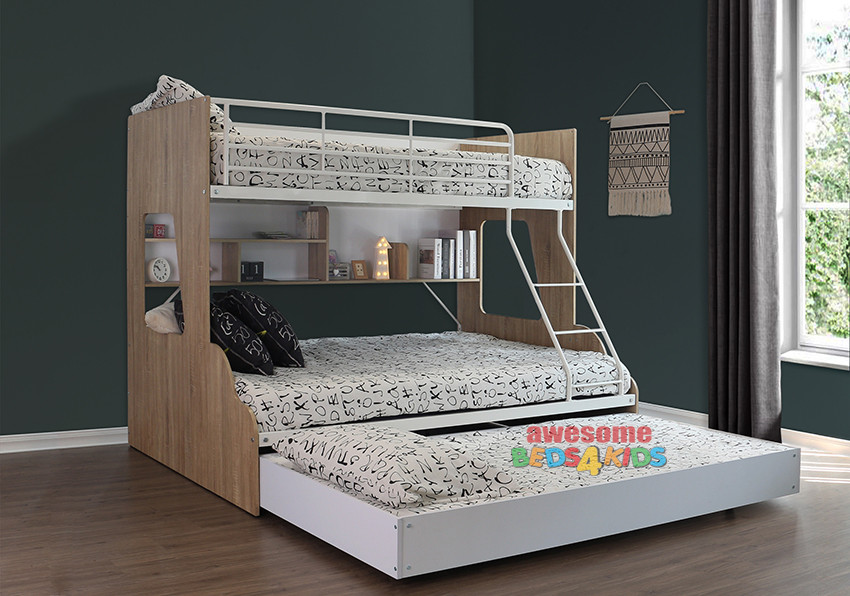 Hawthorne Single Over Double Bunk Bed with Single Trundle is the ideal bunk for all room sizes. Ladder can be set up either side to compliment any room design, providing ample storage space and easy access to the top bunk and a single trundle to accommodate family and friends for sleepovers.