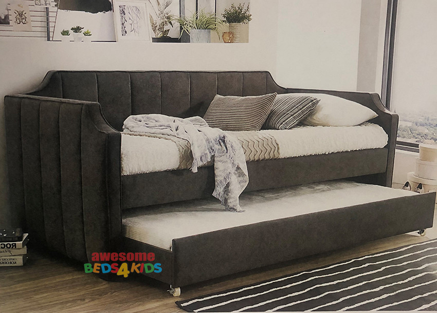 Leeman Daybed with Single Trundle is upholstered in dark grey linen fabric. Perfect for the spare room or kids room with limited space. Great single pullout trundle for extra guests.