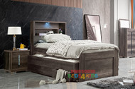 Ashford Captains Bed with Storage Bedhead + LED lights - King Single