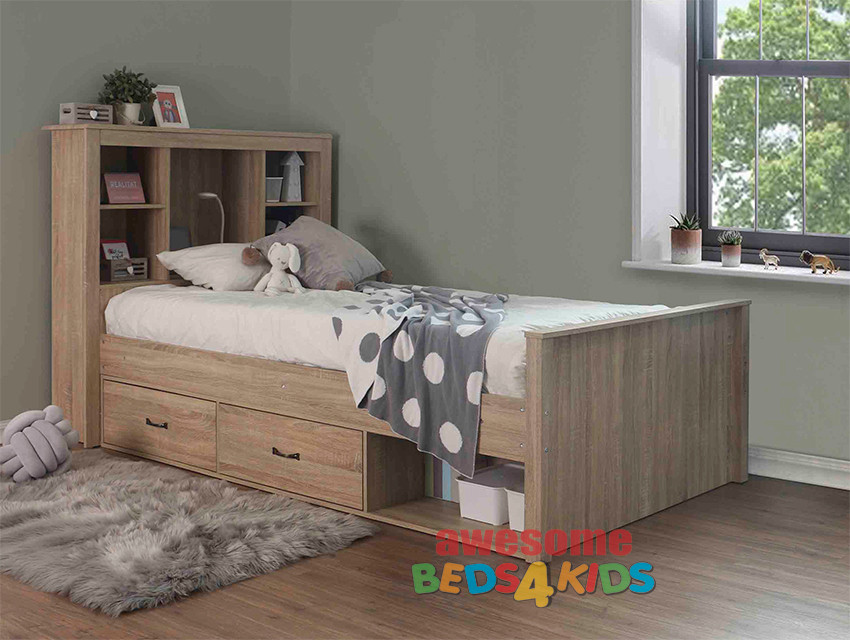 King Single Belmont Bed Frame features a fantastic storage bed head with shelves and plenty of space to display your kids favorite things. The Belmont also features underbed drawers (that can be placed either side of the bed depending how you need the bed to fit into the room).