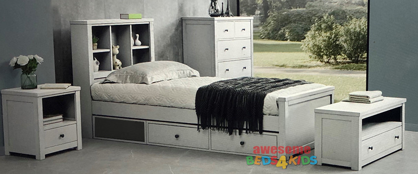 Zillmere Bed Frame features a fantastic storage bed head with shelves and plenty of space to display your kids favorite things.