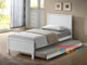 Quincy Trundle Bed Frame features an closed slated head and footboard and is great value, the perfect first bed. The low set trundle is perfect solution for sleepovers.