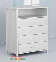 The slick white finish on this tallboy means it can be matched with any of our white bed frames and furniture.