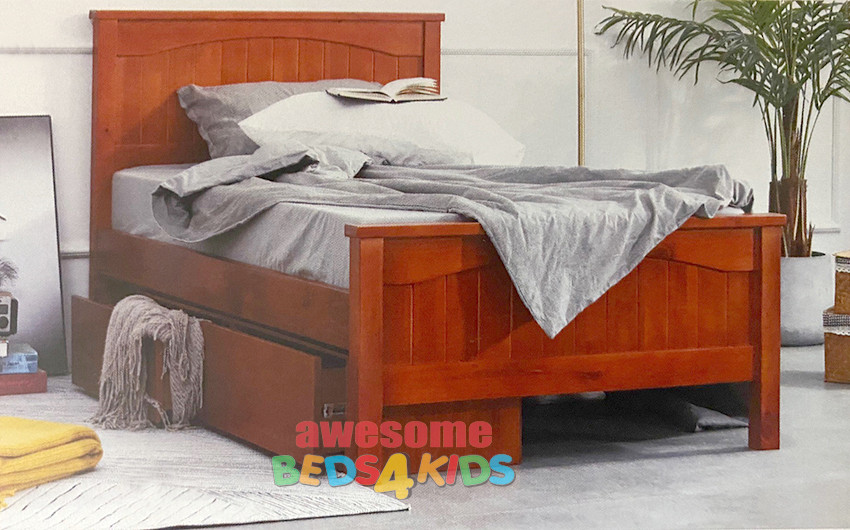 Ascot Bed Frame features an solid headboard and footboard with great detail curved inner and is a classic pine bed!