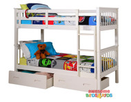 Brighton Single Bunk Bed is great value! Federation style open head and foot boards which creates a feeling of space. ** Drawers Optional Extra **