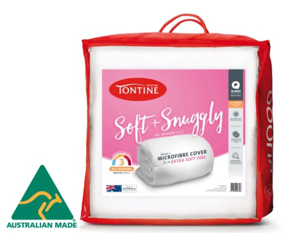 This Australian made Tontine Soft & Snuggly quilt has a medium weight and medium warmth rating, making it ideal for year round use.