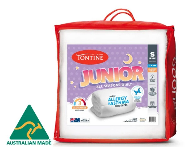 This Australian made Tontine Junior Quilt is a light weight, medium warmth quilt designed specifically for growing children.
