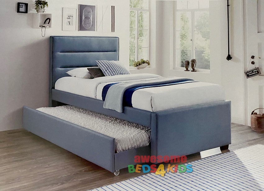 Ryde Upholstered Bed Frame with Trundle is a contemporary bed frame available with a pull out trundle bed. Upholstered in blue mint fabric.