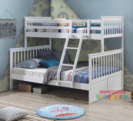 Springvale Single Over Double Bunk features a federation style bunk bed with an open head and foot boards which creates a feeling of space. The lean to ladder makes it easier to go up and down. The single bunk can be used by itself or used as the combination allowing greater flexibility. Available in White Only.