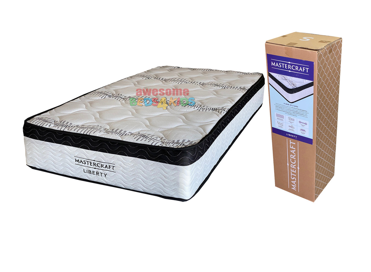 Liberty Boxed Mattress features a no turn pocket spring mattress with a medium to firm comfort layers. Overall feel is Firm. Perfect for kids and adults. Available in Single, King Single, Double & Queen Sizes.