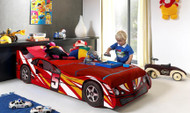 The Blue Racer No5 car bed features 3D wheels and is finished in bright gloss laminated finish. The perfect first bed for all kids.