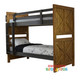 The Single & King Jayden bunk is made from solid rubber wood and mdf panels to create a modern and strong bunk bed. Distressed finish in pecan brown and metallic brown with random gouges.