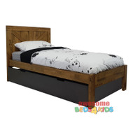 The Single & King Jayden Trundle bed is made from solid rubber wood to create a modern and strong bed. Distressed finish in pecan brown with random gouges. Trundle / Storage Metallic Brown.