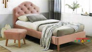 Sophia Upholstered Bed Frame is a contemporary bed frame with oak timber feet which would look great in any girls room. Upholstered in dusty pink velvet.