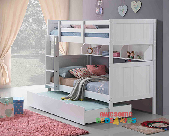 Regatta Single Bunk with Single Trundle features a modern style bunk bed with an closed slated head and foot boards.