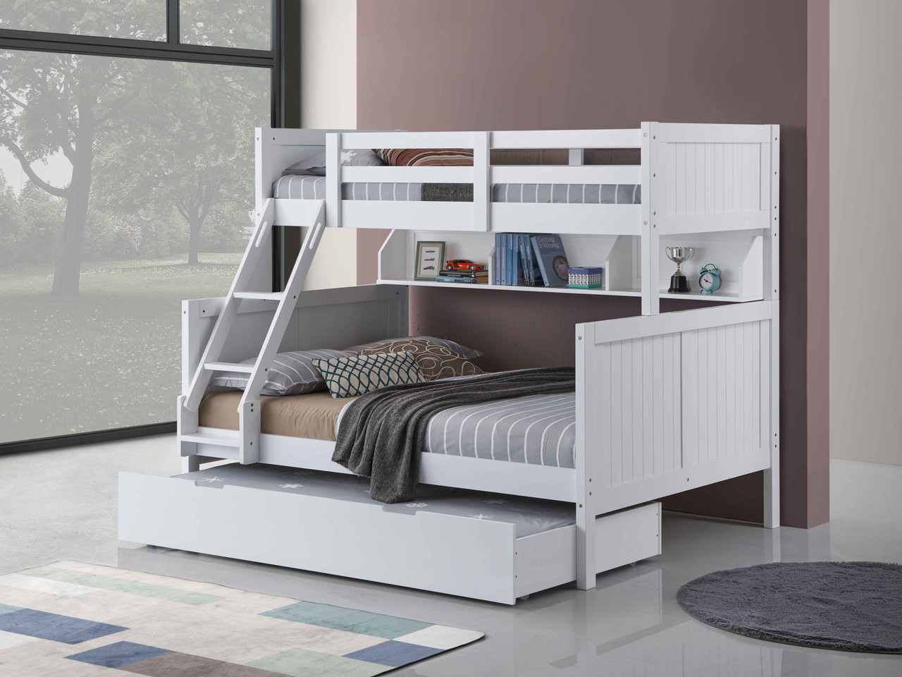 Regatta Single Over Double Bunk with Single Trundle features a modern style bunk bed with an closed slated head and foot boards.