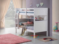 Regatta Single Bunk features a modern style bunk bed with an closed slated head and foot boards. Great shelf storage for the bottom bunk.