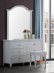 Amber Dressing Table features six drawers and a beautiful mirror. All drawers are on metal runners. Ivory stain only. * Please note stool extra cost.