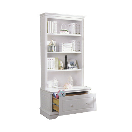 Georgia Bookcase with Toy Box features three large shelves and a toy box which slides in and out like a drawer. Toy box drawer is on metal premium runners.