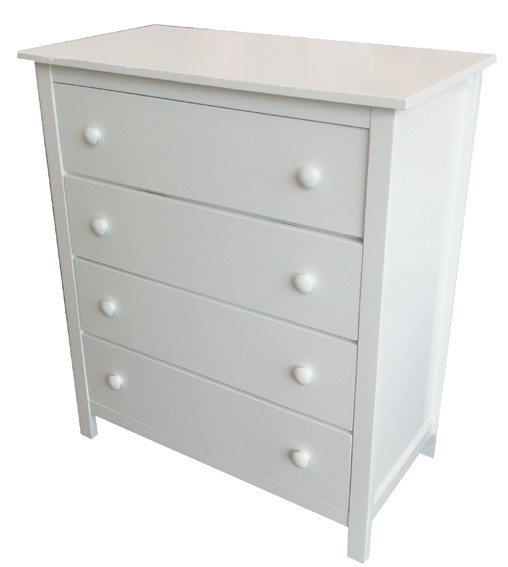 Kado Four Drawer Tallboy matches all of our low gloss beds and furniture. The four drawer tallboy is perfect for extra drawer space, the drawers are on metal runners.