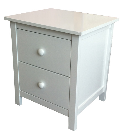 Kado bedside table matches all of our low gloss white beds and furniture. The two drawer bedside is perfect for extra drawer space, the drawers are on metal runners.