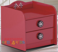 F1 Two Drawer Bedside completes your child's bedroom racing car theme. Great storage and great value for money. Available in Red, Blue and Black. Co-ordinates with most of the novelty beds.