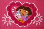 Dora Hearts Rug is a great design which is a soft and comfortable play mat - Nylon cut pile from Egypt.
