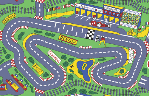 Grandprix Rug is a great design which is a soft and comfortable play mat - Nylon cut pile from Egypt.