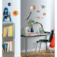 Space comes right into your bedroom with our space travel set of wall stickers.