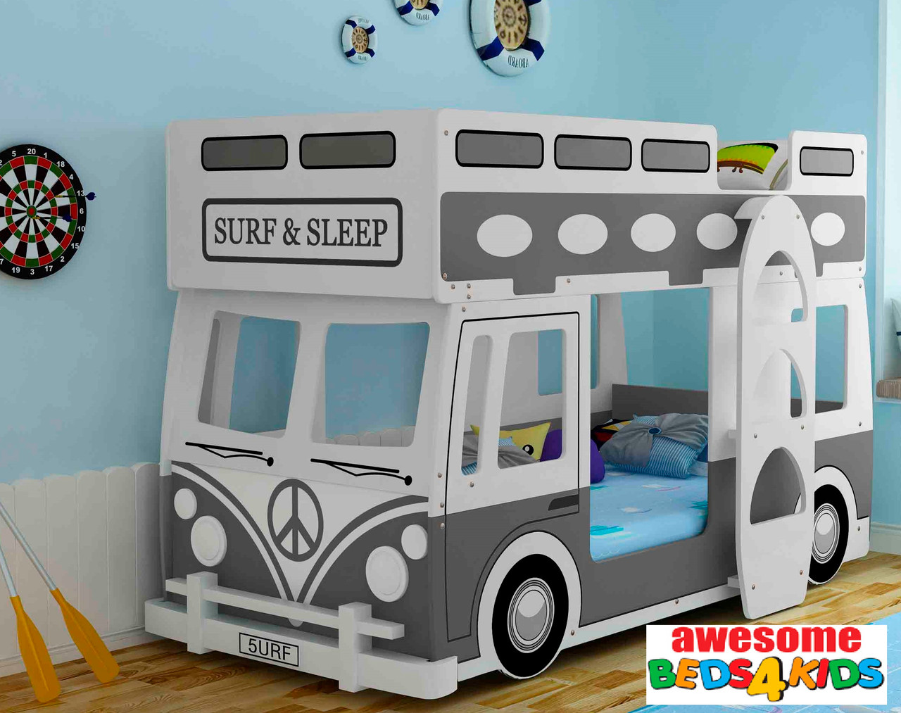 Surfs Up Dude! Surf Bus Bunk Bed Features a standard single size bunk bed which is close to the ground for little ones! Use the top for storage if needed and bottom bunk to sleep! Very Cool!
