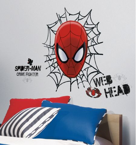 ultimate spider-man web head giant wall stickers - awesome beds 4 kids