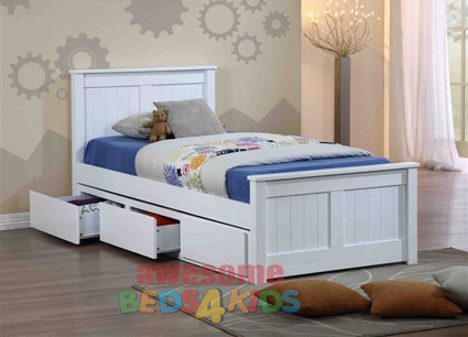 Cody Bed with 3 Under Bed Drawers features straight lines and a solid head and footboards which make the Cody a modern beauty.