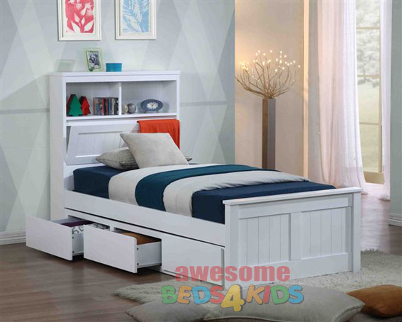 Botany Bed Frame With Underbed Drawers Bookcase Bed Head Bed