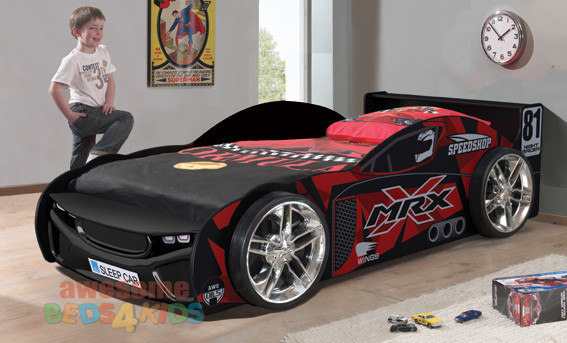 Single MRX Drift King Car Bed is our latest design and far away the one of coolest car bed on the market! Big flash wheels and features a fibre glass front.