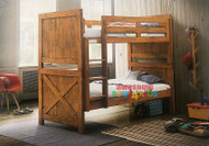 Ranch Bunk features a barnyard style design. Beautiful distressed rustic look natural timber bunk bed, thick solid head and footboards. Available in Pecan Brown (Pictured). Single Only.