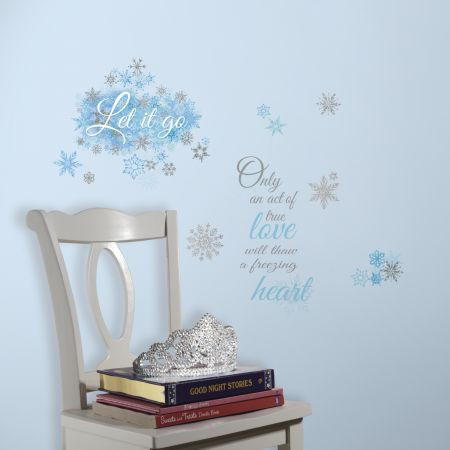 "Bring the famous quotes of the hit Disney movie ""Frozen"" to the walls of your princess's room with these Frozen Let It Go wall stickers!"
