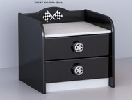 F1 Two Drawer Bedside completes your child's bedroom racing car theme. Great storage and great value for money. Available in Black. Co-ordinates with most of the novelty beds.