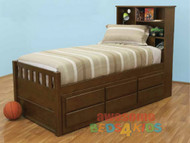 Mayne captains bed frame has the best of both worlds! features handy storage bed head plus the trundle has 3 drawers for clothes etc and combined with a single or king single pull trundle bed. Bed is made from combination of Plywood, Pine and MDF.