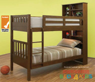 Mayne Bunk Bed features handy storage bookcase bed head. Bed is made from combination of Plywood, Pine and MDF.