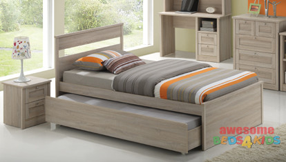 Capri King Single Trundle Bed is a very modern and practical bedroom solution for boys or girls with Trundle (can come out either side). Awesome Value! The picture doesn't do the finish justice. Modern laminated white wash finish. Available King Single only.