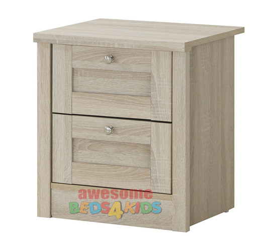 Broadbeach Two Drawer bedside table. Metal extension runners.