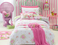 Shabby Chic quilt cover set is made from a 50/50 Polyester & cotton which gives a luxurious softness and smoothness with long lasting durability. Easy care fabric washes easily & dries quickly. Single or Double.